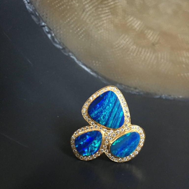 Artist Lauren Harper Boulder Opal Diamond Gold Statement Cocktail Ring For Sale