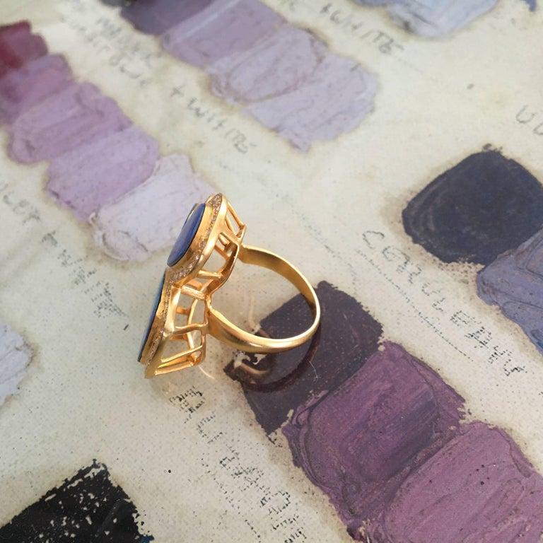 Lauren Harper Boulder Opal Diamond Gold Statement Cocktail Ring For Sale 5