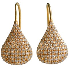 1.12 Carat Diamonds Yellow Gold Pear Drop Earrings by Lauren Harper