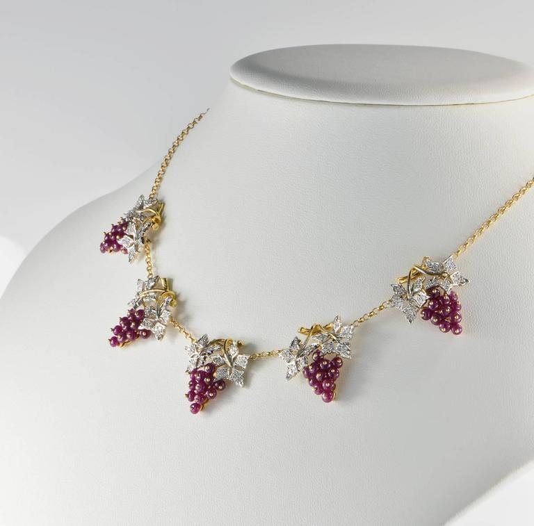 Retro Natural Ruby and Diamond Grape Necklace For Sale