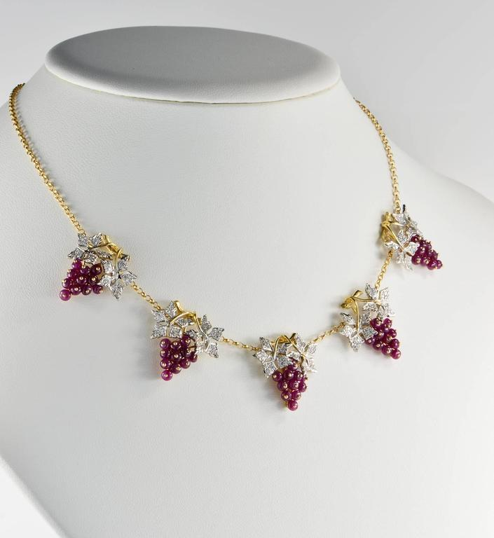 Women's Natural Ruby and Diamond Grape Necklace For Sale