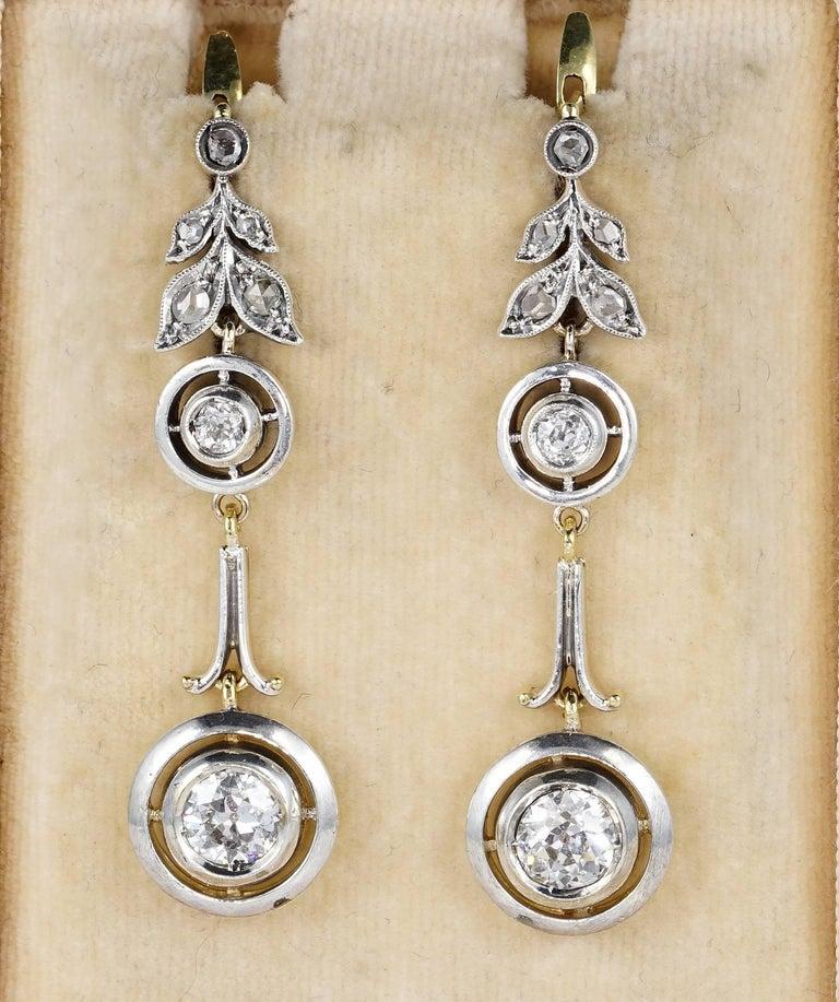 Edwardian Target 2 10 Carat Diamond Long Drop Earrings