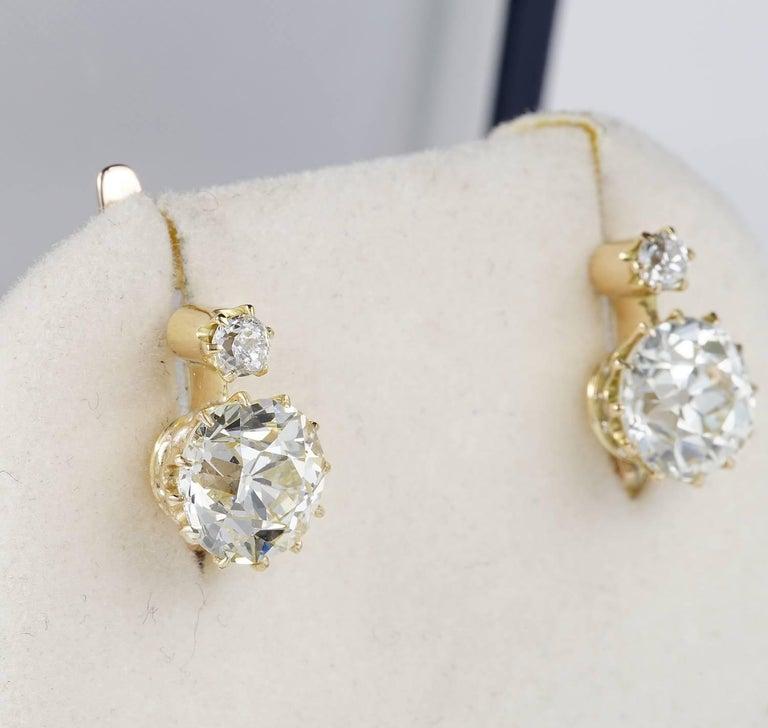 Old European Cut Victorian 3 90 Carat Plus Diamond J K Vvs Earrings For