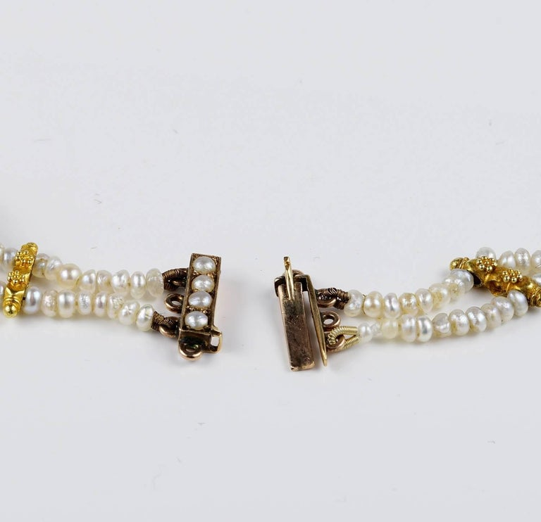 Edwardian Natural Sapphire Seed Pearl Rare Necklace For Sale 2