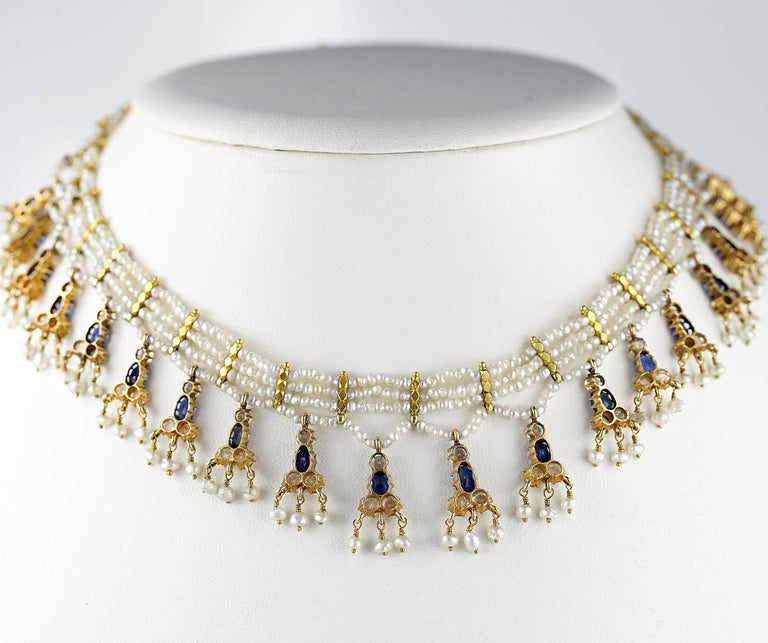 Edwardian Natural Sapphire Seed Pearl Rare Necklace For Sale 1