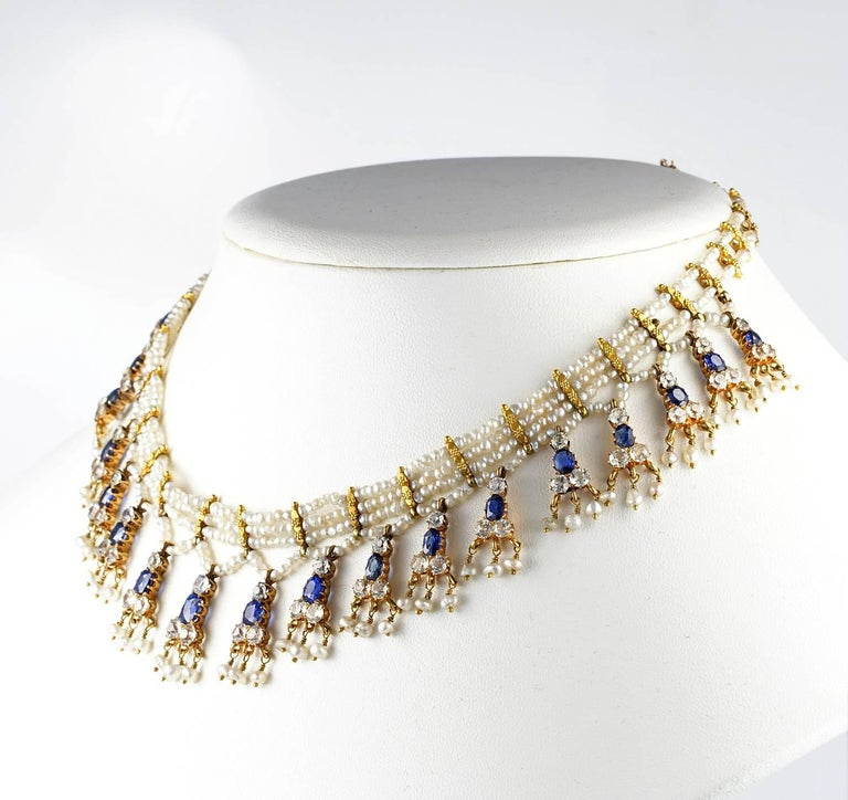 Edwardian Natural Sapphire Seed Pearl Rare Necklace In Good Condition For Sale In Napoli, IT