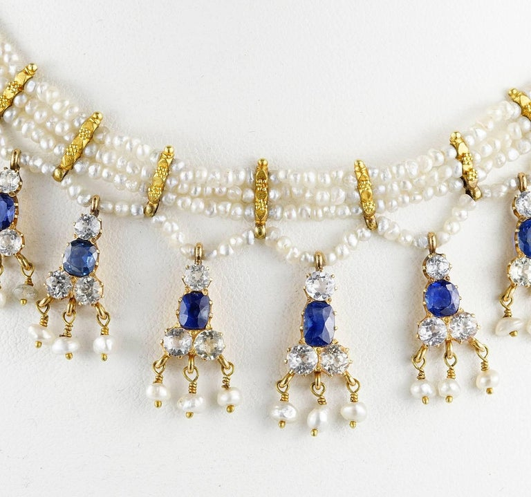 Edwardian Natural Sapphire Seed Pearl Rare Necklace For Sale 3