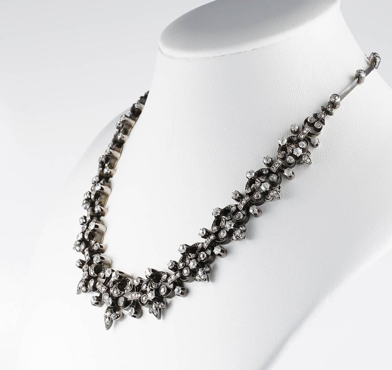 Women's French Victorian 12.20 Carat Diamond Antique Necklace For Sale