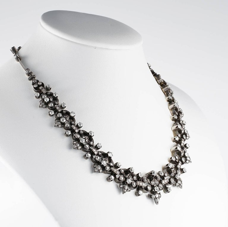 Old Mine Cut French Victorian 12.20 Carat Diamond Antique Necklace For Sale