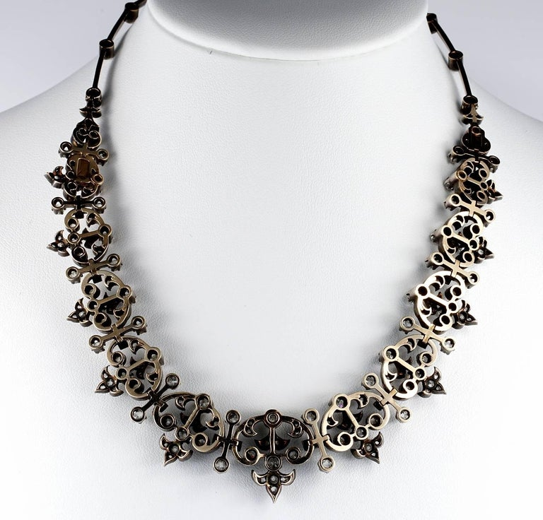 French Victorian 12.20 Carat Diamond Antique Necklace For Sale 4