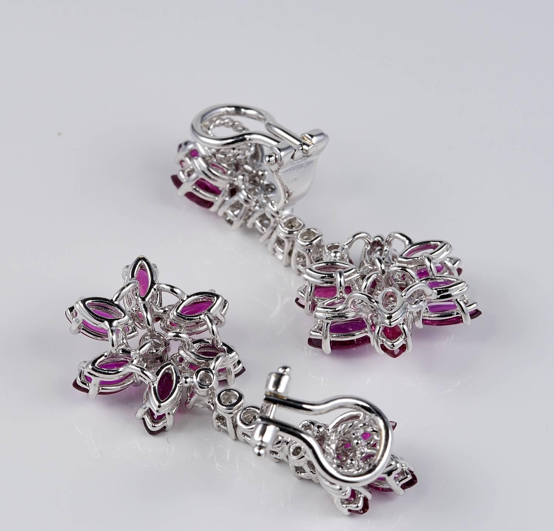 Vintage Flower Ruby Diamond Drop Earrings For Sale at 1stdibs