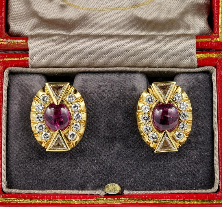 Striking Art Deco Ruby and Diamond featuring charming geometric design and earth mined gemstones combining drama and style in equal parts. 1935 ca European origin. Hand crafted as individual jewel of solid 18 KT gold not marked. Starring two natural