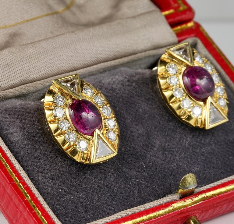 Art Deco 5.0 Carat No Heat Ruby 3.90 Carat Diamond Earrings In Good Condition For Sale In Napoli, IT