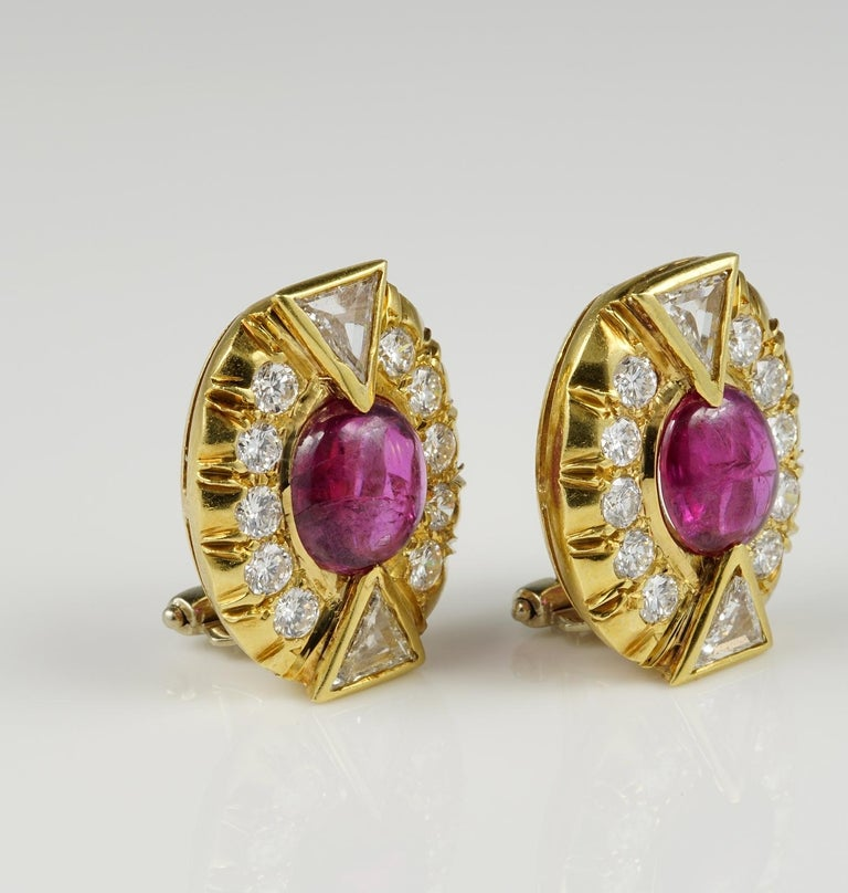 Women's Art Deco 5.0 Carat No Heat Ruby 3.90 Carat Diamond Earrings For Sale