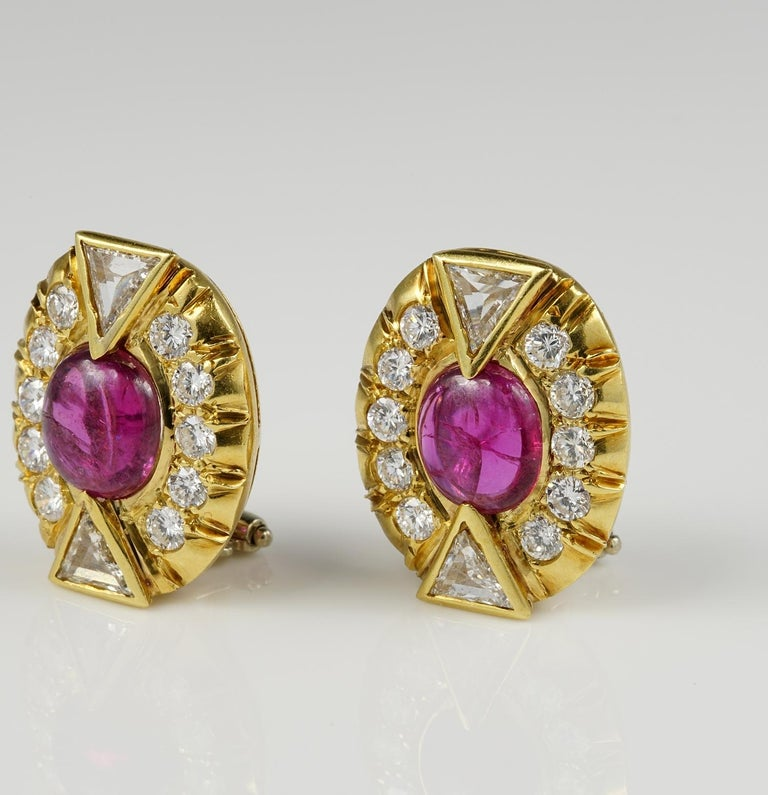 Art Deco 5.0 Carat No Heat Ruby 3.90 Carat Diamond Earrings For Sale 2