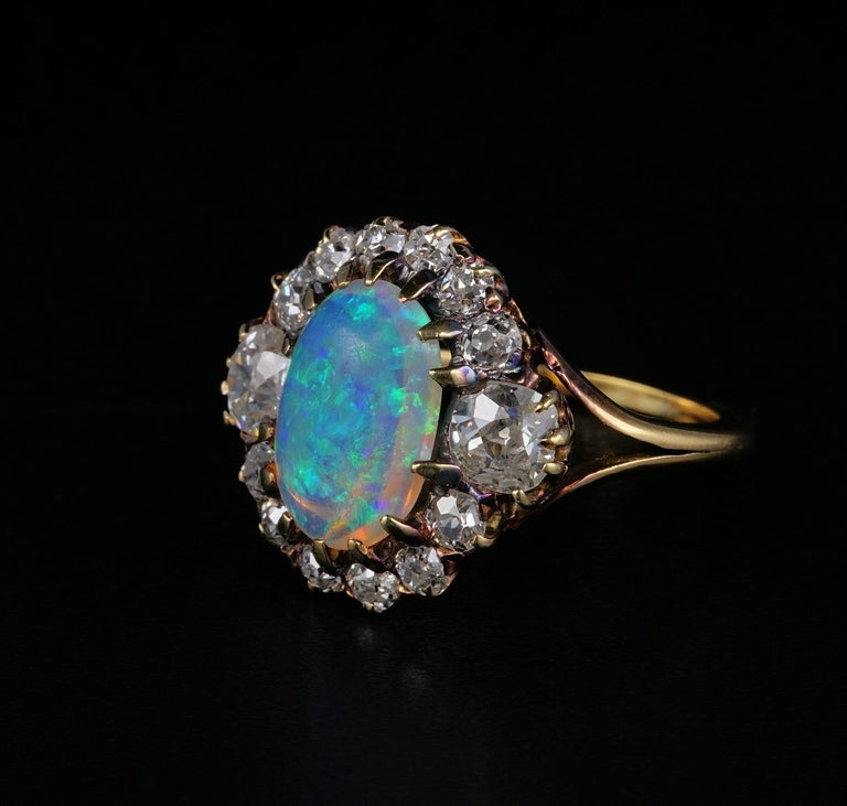 Women's Victorian Natural Opal 1.80 Carat Old Mine Diamond Ring For Sale