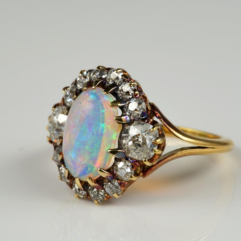 Victorian Natural Opal 1.80 Carat Old Mine Diamond Ring For Sale 1