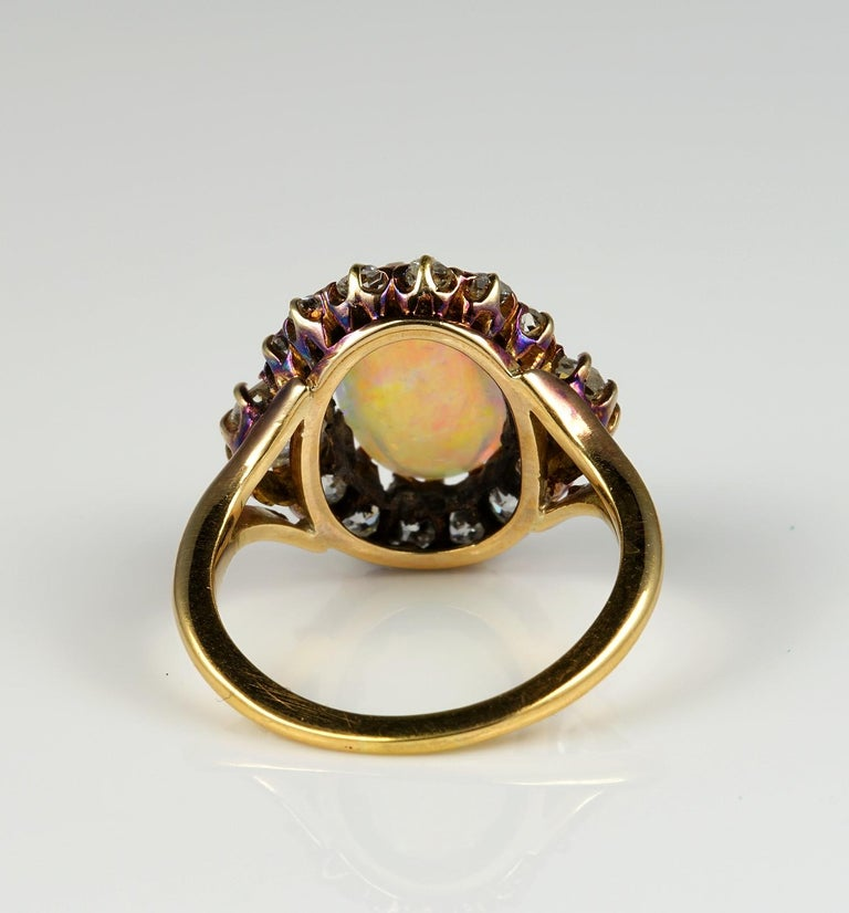 Victorian Natural Opal 1.80 Carat Old Mine Diamond Ring For Sale 3