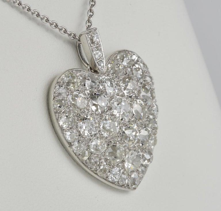 Old Mine Cut Platinum Edwardian 6.0 Carat Mine Cut Diamond Rare Sentimental Heart Necklace For Sale