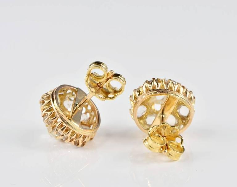 b1136d141989e Victorian 2.20 Carat Old Table Cut Diamond Gold Stud Cluster Earrings