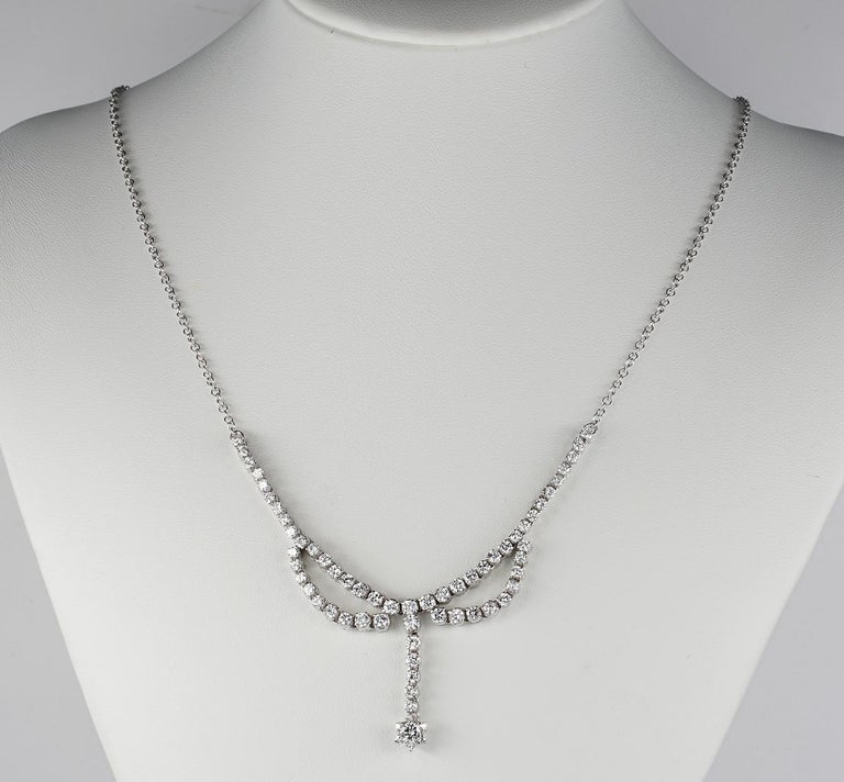 Glance of Brilliance!  Classy, eternal elegance is expressed in this outstanding high quality Diamond necklace Attractive for all generations since does not fear time passing by Hand crafted of solid 18 KT white gold, not marked, this piece is