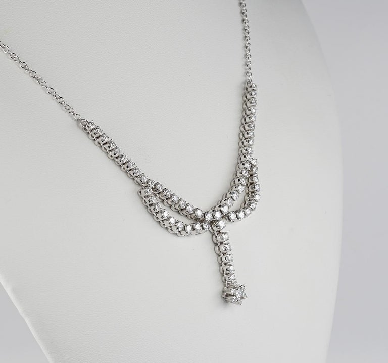 Contemporary 3.30 Carat Diamond F G VVS Glamour of the 1950s Necklace For Sale