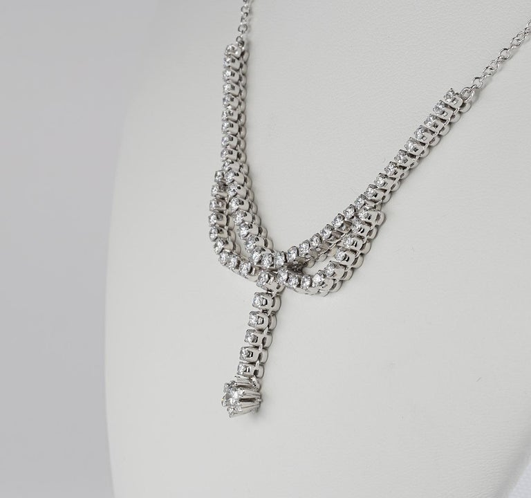 3.30 Carat Diamond F G VVS Glamour of the 1950s Necklace In Good Condition For Sale In Napoli, IT
