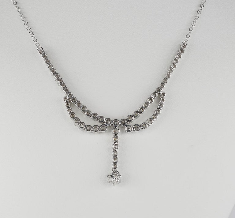 Women's 3.30 Carat Diamond F G VVS Glamour of the 1950s Necklace For Sale
