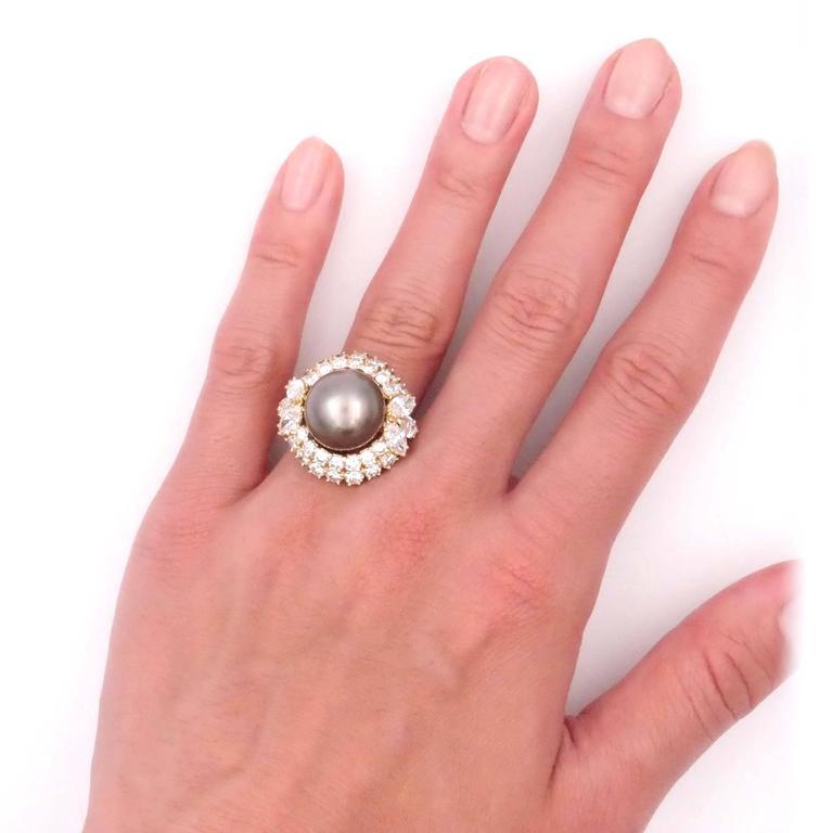 Harry Winston Tahitian Pearl and Diamond Ring 7