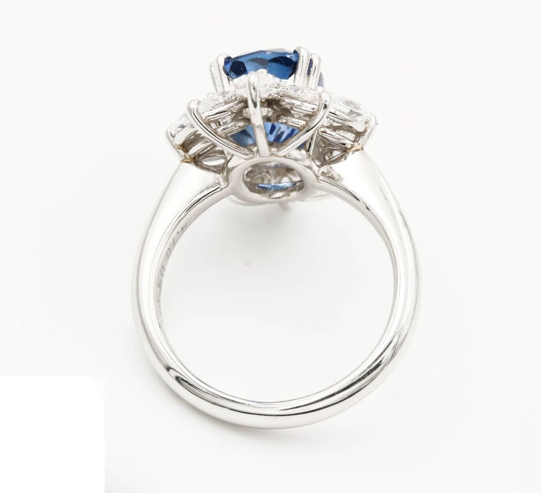 Contemporary Oval Sapphire and Diamond Ring For Sale at ...