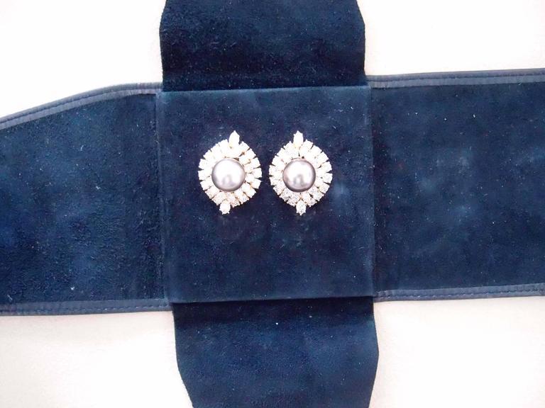 Harry Winston Tahitian Pearl and Diamond Earrings 8