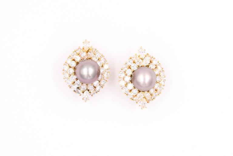 Harry Winston Tahitian Pearl and Diamond Earrings 3