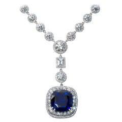 Cushion Sapphire Drop Necklace