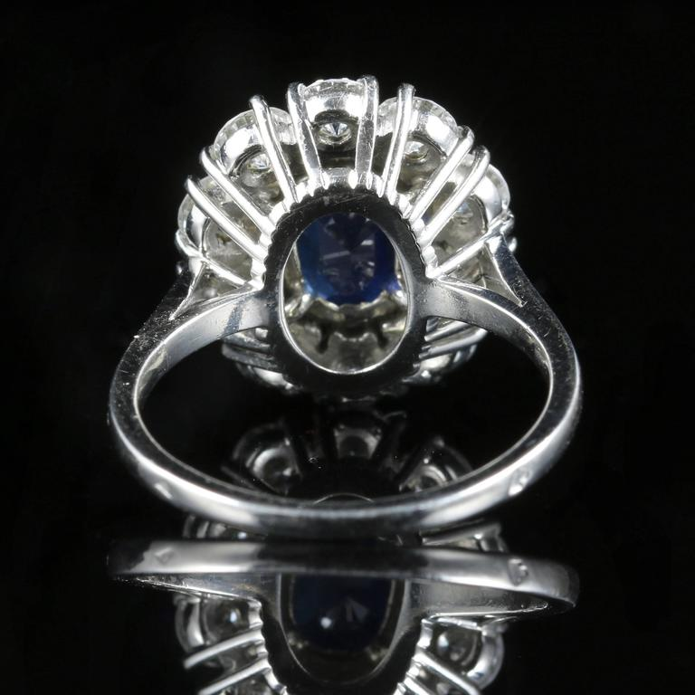 Antique Edwardian 3.00 Carat Natural Sapphire Diamond French Engagement Ring In Excellent Condition For Sale In Lancaster, Lancashire
