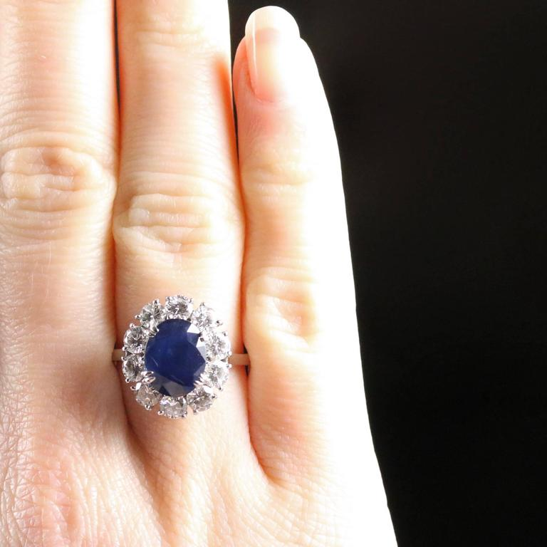 Antique Edwardian 3.00 Carat Natural Sapphire Diamond French Engagement Ring For Sale 1