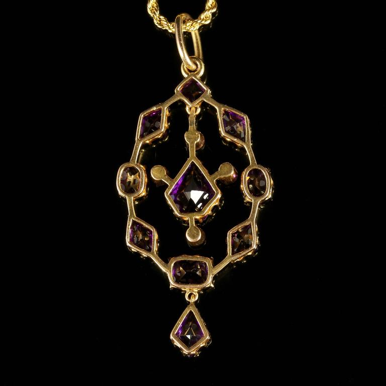 Antique Victorian Amethyst Pendant and Necklace 18 Carat Gold 4