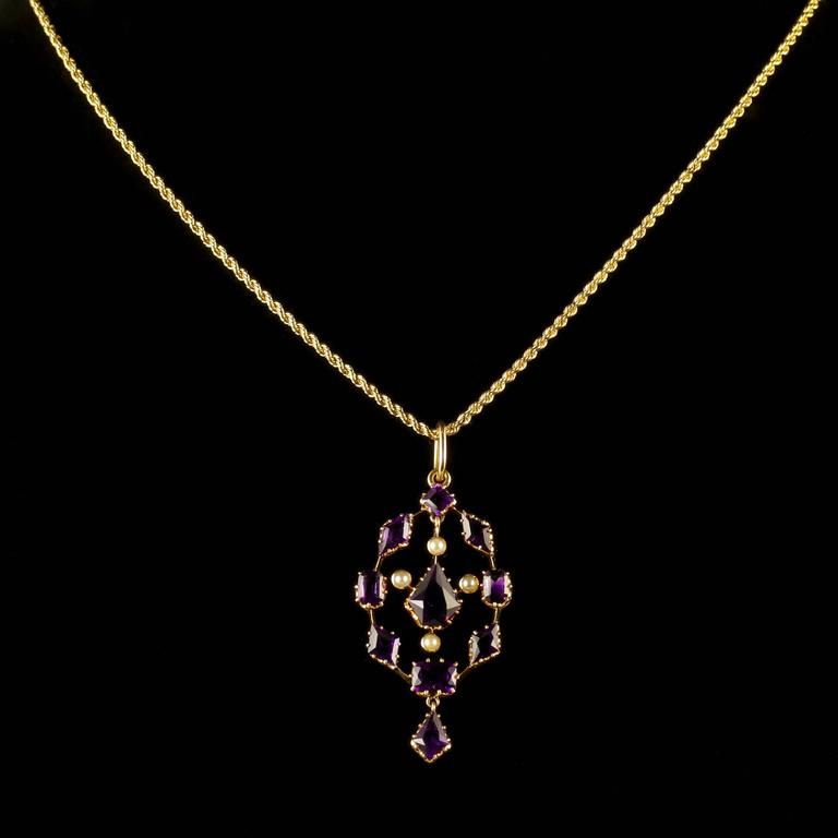 Antique Victorian Amethyst Pendant and Necklace 18 Carat Gold 3