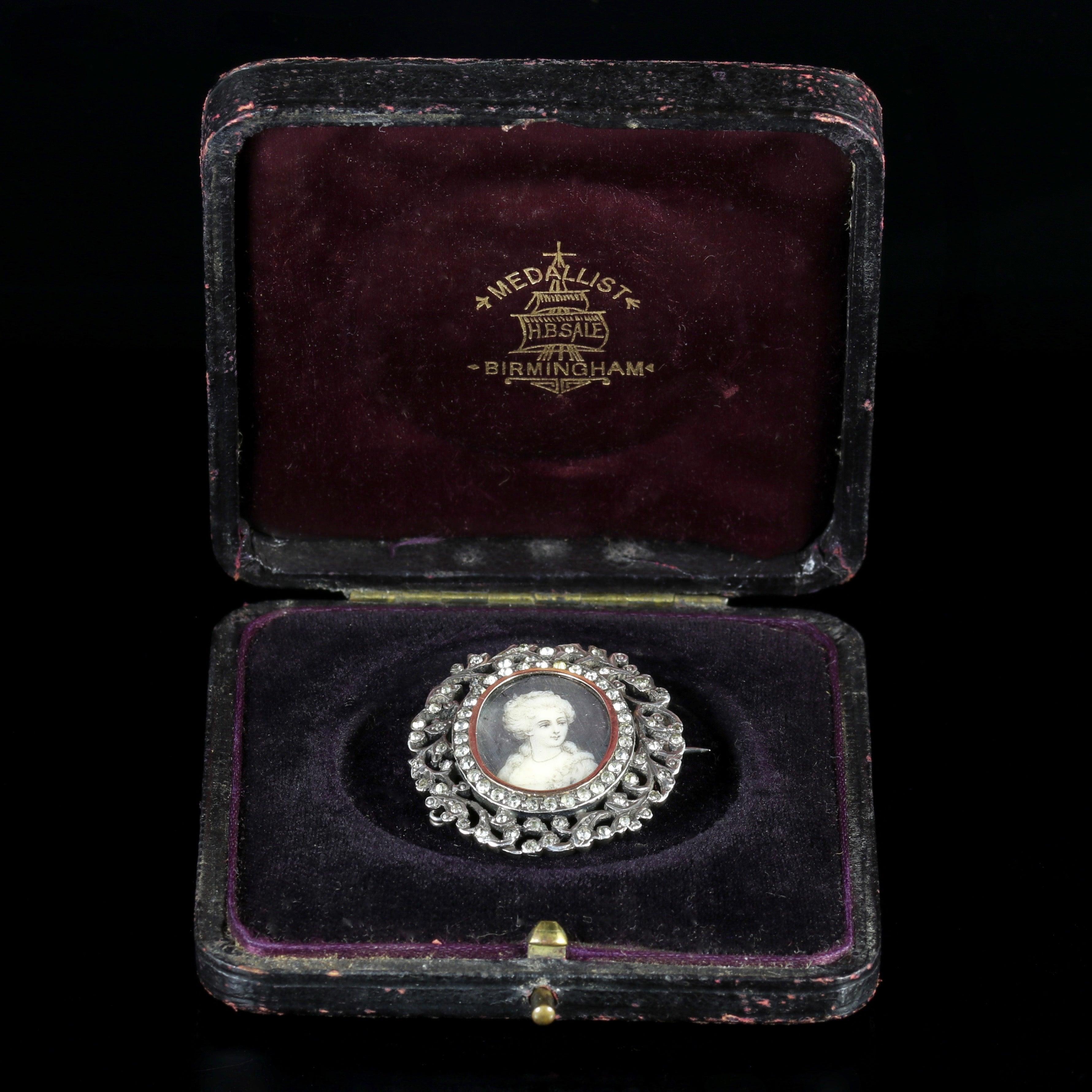 Antique Georgian Paste Stones Sterling Silver Miniature Brooch For Walet Black Soap Original Box Diamond Sale At 1stdibs