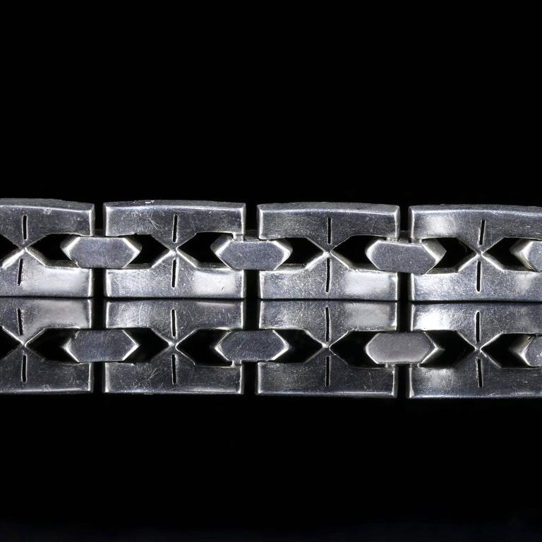 Antique Art Deco Silver Paste Bracelet, circa 1920 4