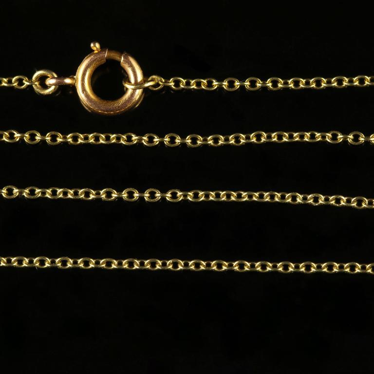 Antique Edwardian Aquamarine Gold Pendant on Chain For Sale 2