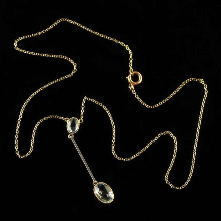 Women's Antique Edwardian Aquamarine Gold Pendant on Chain For Sale