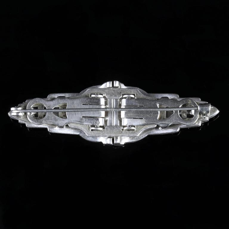 Art Deco Silver Double Clip Brooch Paste, 1920 For Sale 5