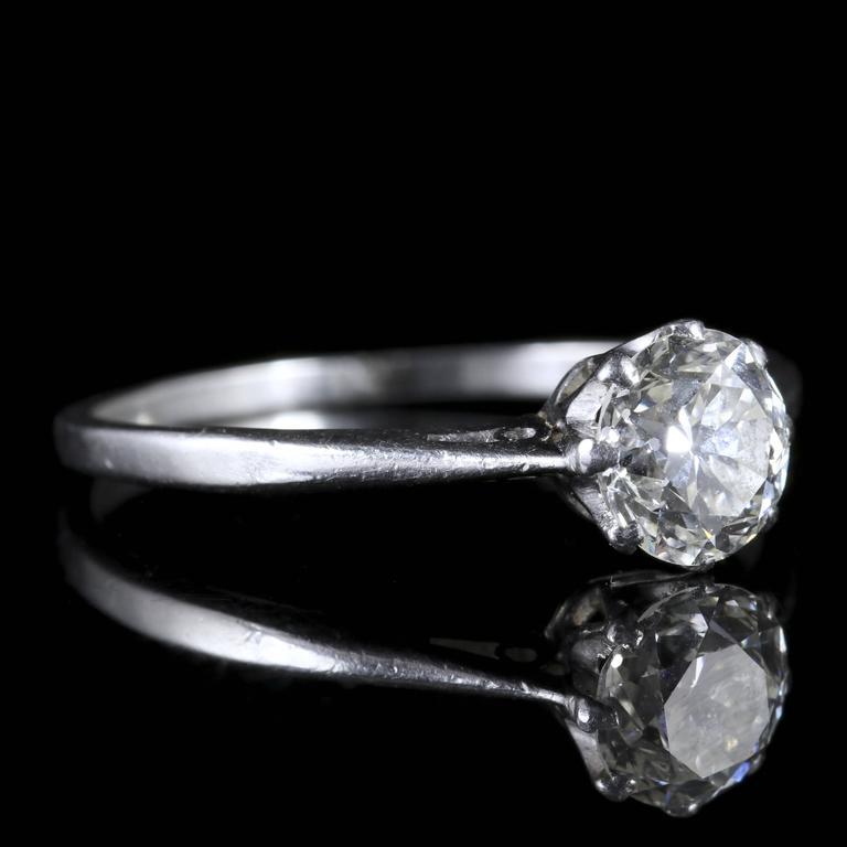 antique edwardian solitaire ring platinum