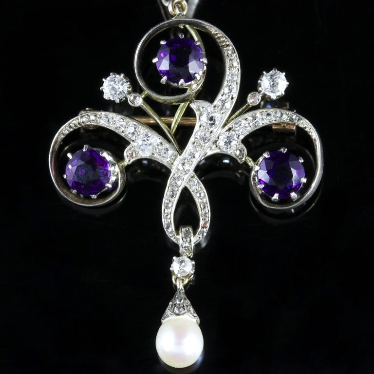 Antique Edwardian Platinum Amethyst Diamond Pendant Necklace 2