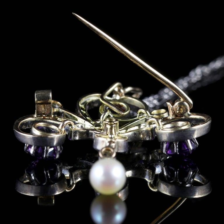 Antique Edwardian Platinum Amethyst Diamond Pendant Necklace For Sale 4