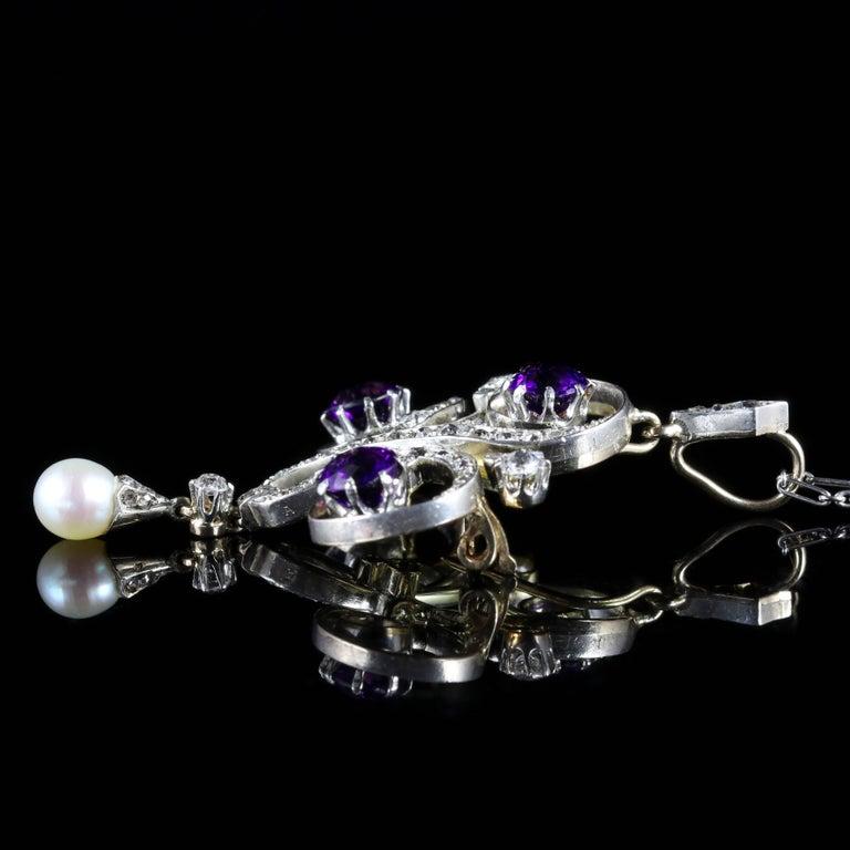Antique Edwardian Platinum Amethyst Diamond Pendant Necklace For Sale 3