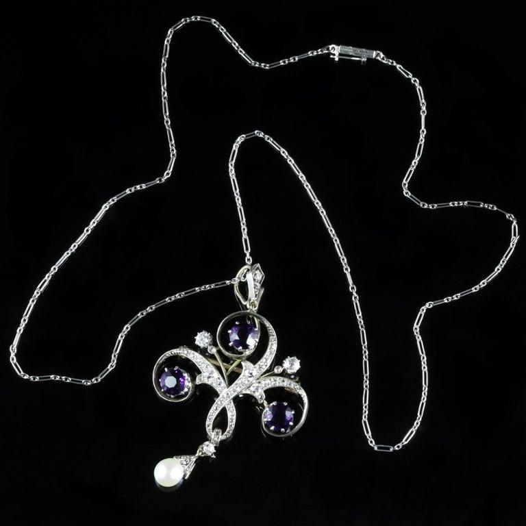 Women's Antique Edwardian Platinum Amethyst Diamond Pendant Necklace For Sale