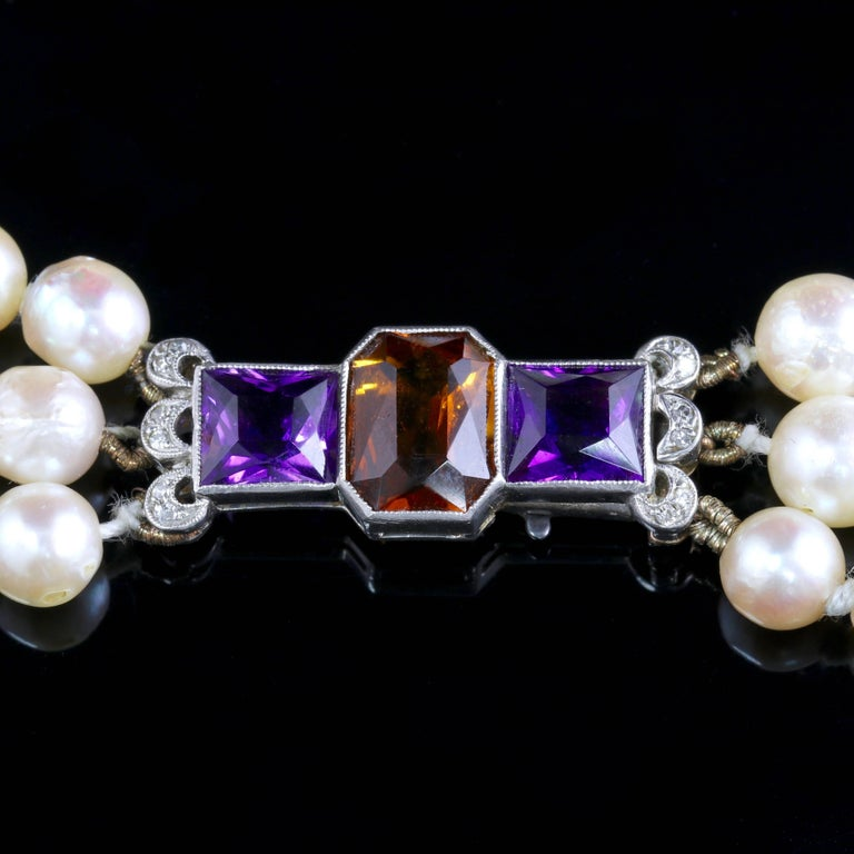 Edwardian Platinum Pearl Necklace Diamond Citrine Amethyst Platinum Clasp For Sale 1