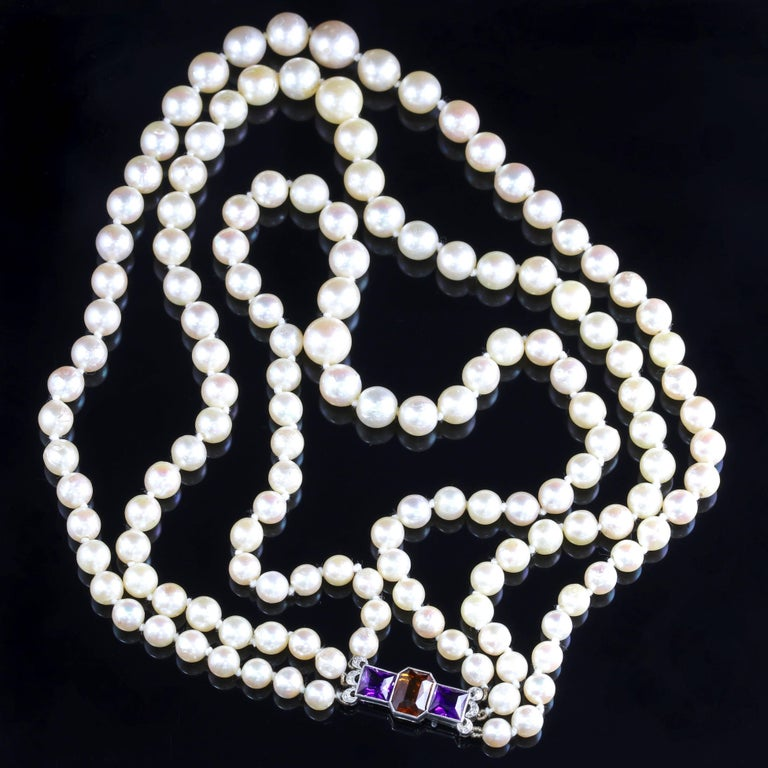 Edwardian Platinum Pearl Necklace Diamond Citrine Amethyst Platinum Clasp In Excellent Condition For Sale In Lancaster, Lancashire