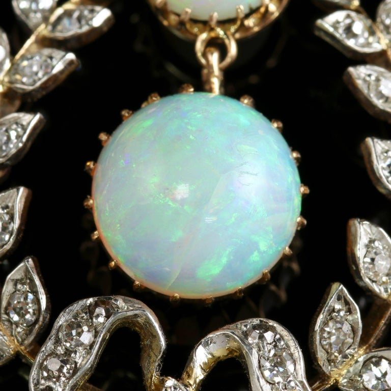 Edwardian Opal Diamond Pendant 18 Carat Gold, circa 1910 In Excellent Condition For Sale In Lancaster, GB